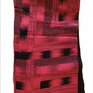 Red & black oversized scarf wrap, India, NEW silk?